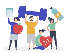 Healthy people carrying different icons related to healthy lifes